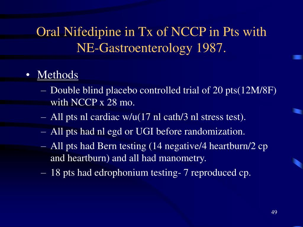 Oral Nifedipine in Tx of NCCP in Pts with NE-Gastroenterology 1987.