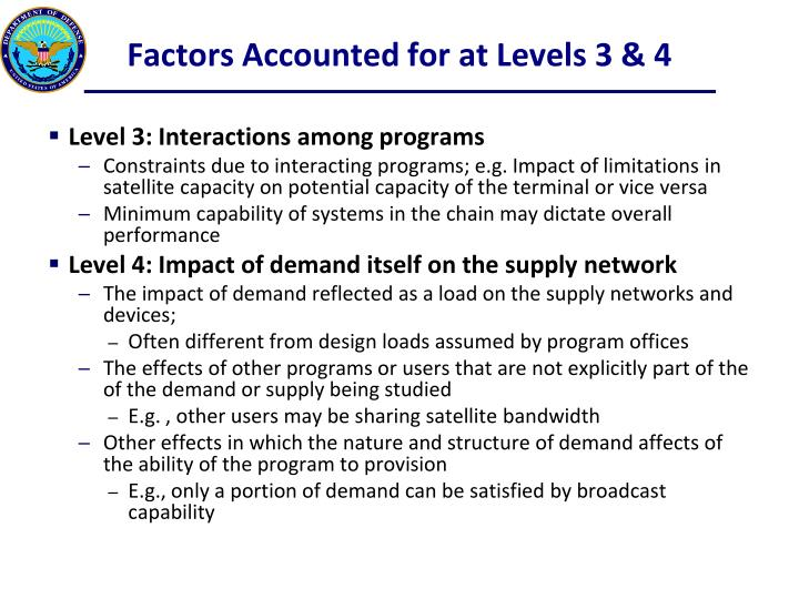 Factors Accounted for at Levels 3 & 4