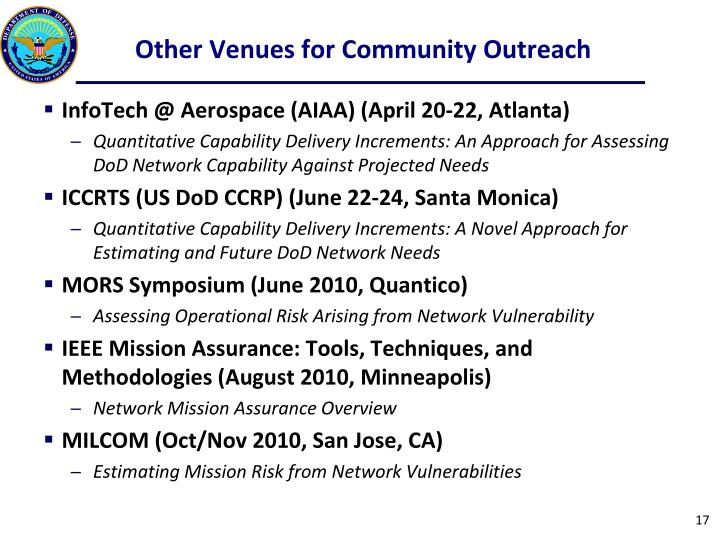 Other Venues for Community Outreach