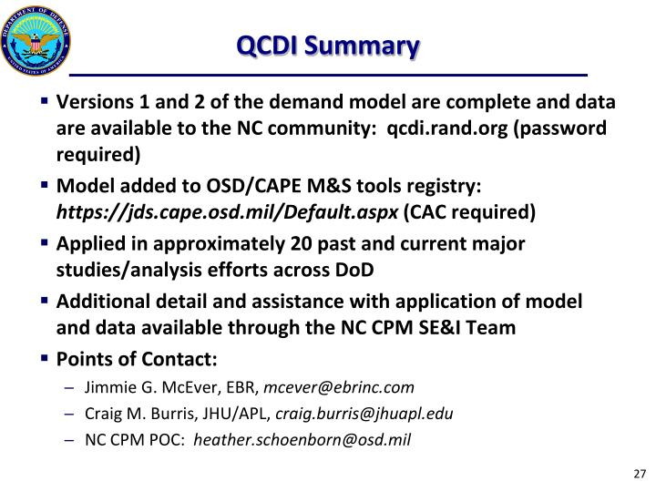QCDI Summary