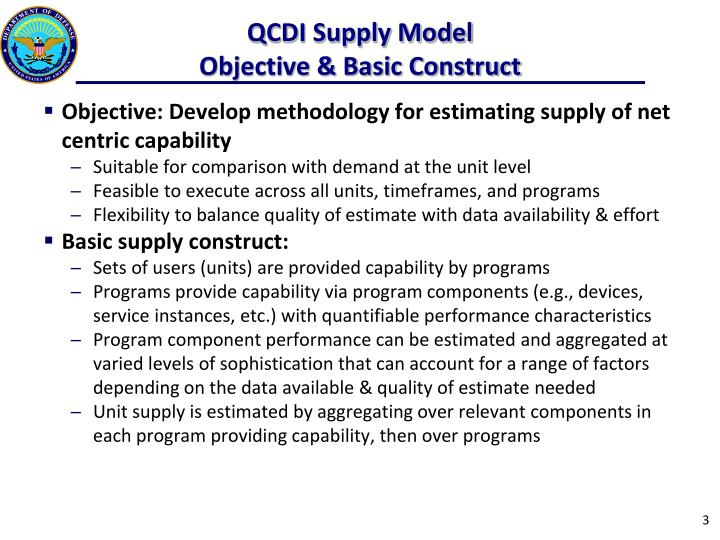 Qcdi supply model objective basic construct