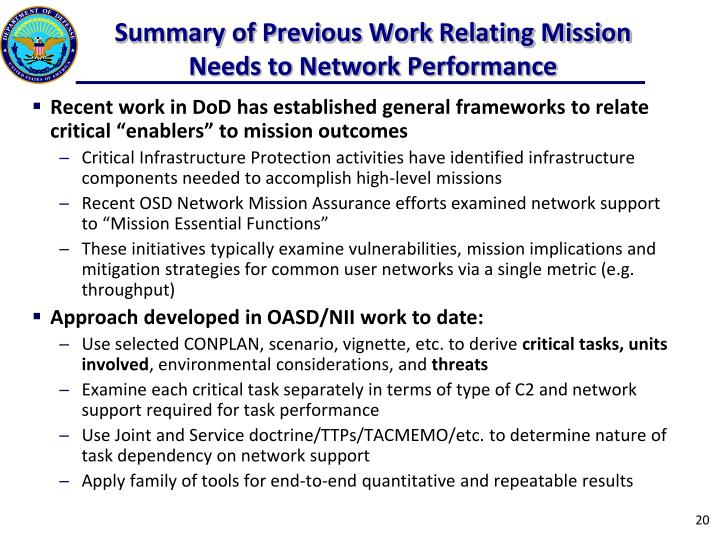 Summary of Previous Work Relating Mission Needs to Network Performance
