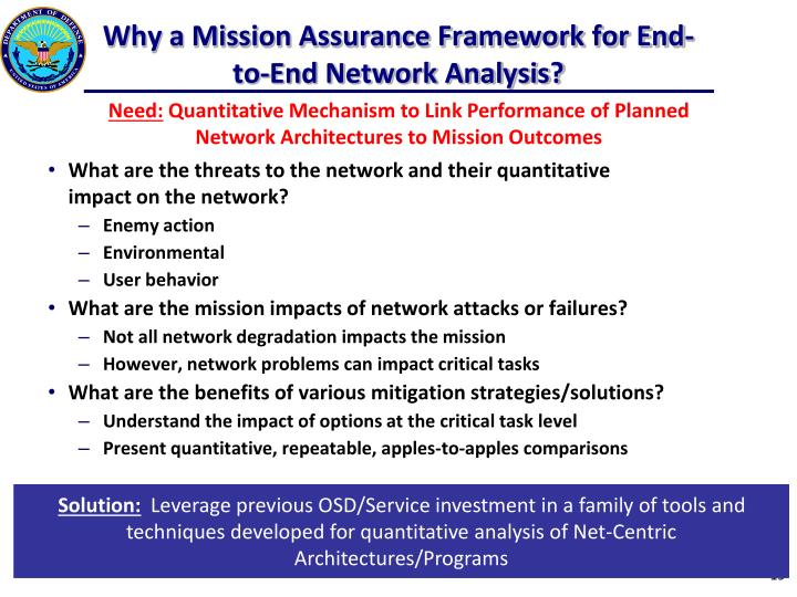 Why a Mission Assurance Framework for End-to-End Network Analysis?
