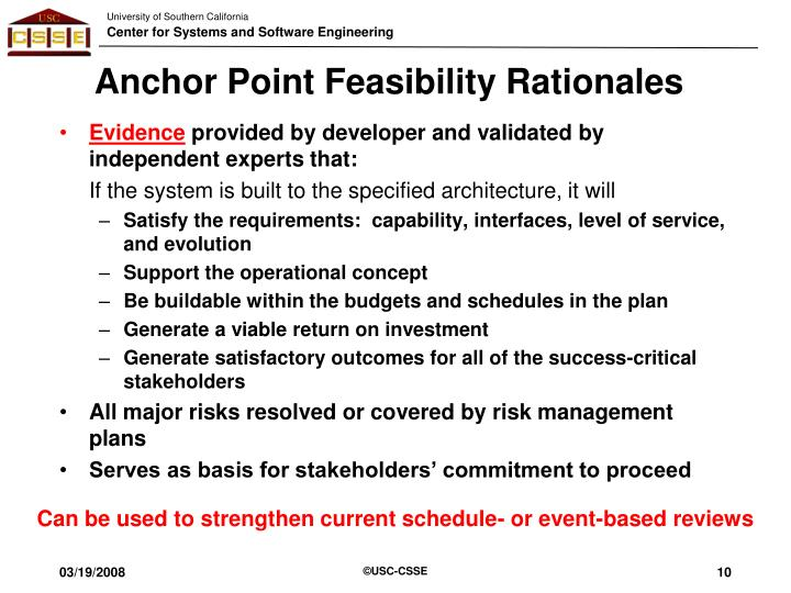 Anchor Point Feasibility Rationales