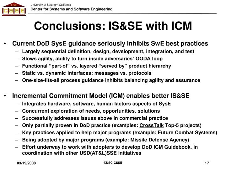 Conclusions: IS&SE with ICM