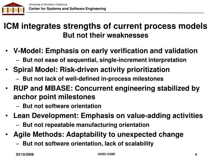 ICM integrates strengths of current process models