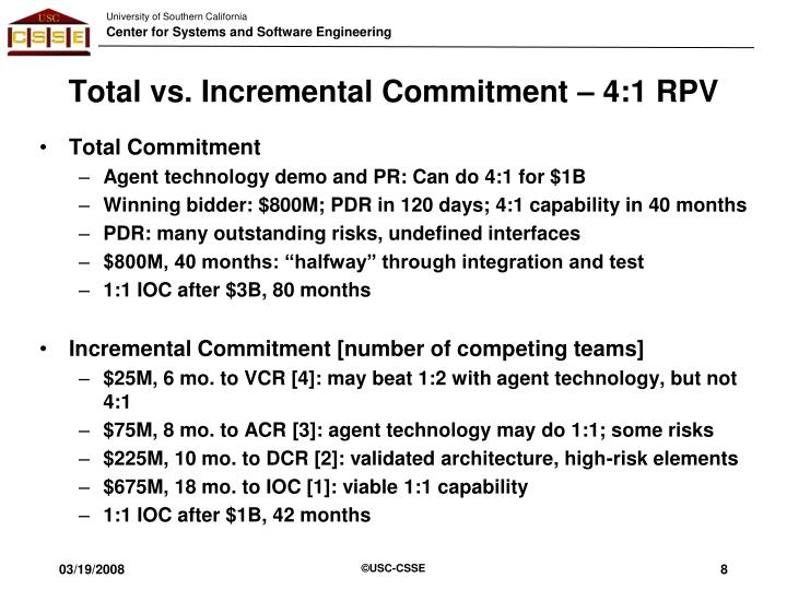 Total vs. Incremental Commitment – 4:1 RPV