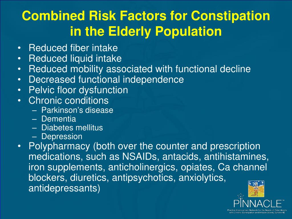 Combined Risk Factors for Constipation in the Elderly Population