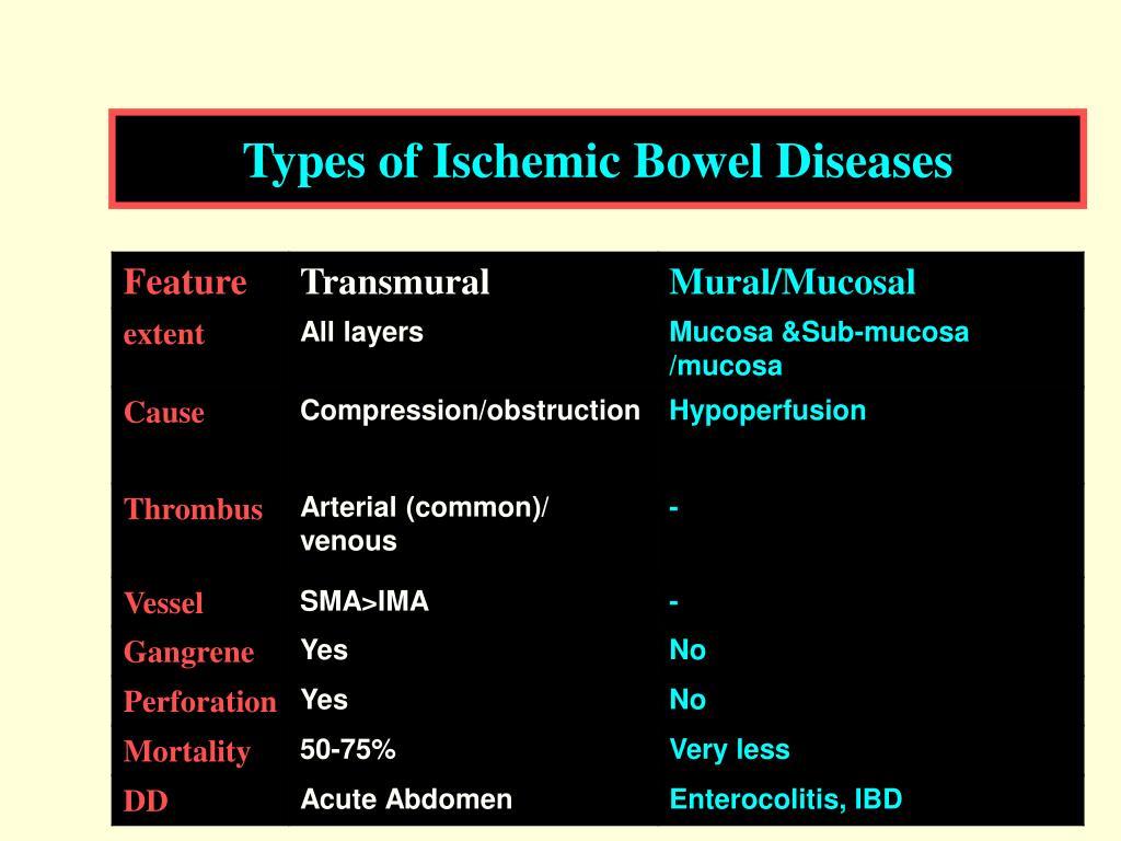 Types of Ischemic Bowel Diseases