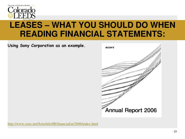 LEASES – WHAT YOU SHOULD DO WHEN READING FINANCIAL STATEMENTS: