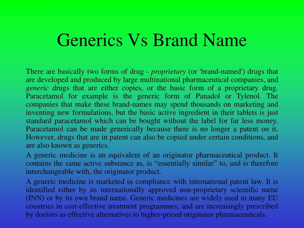 Generics Vs Brand Name