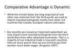 comparative advantage is dynamic