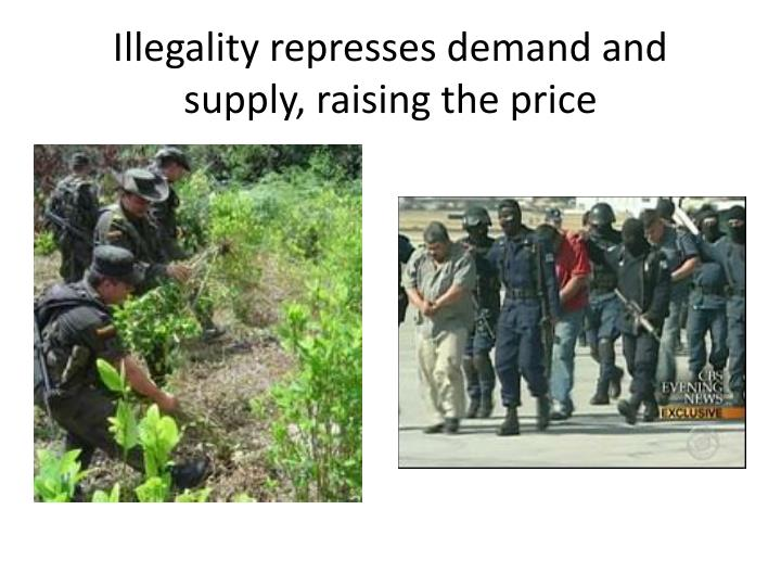 Illegality represses demand and supply, raising the price