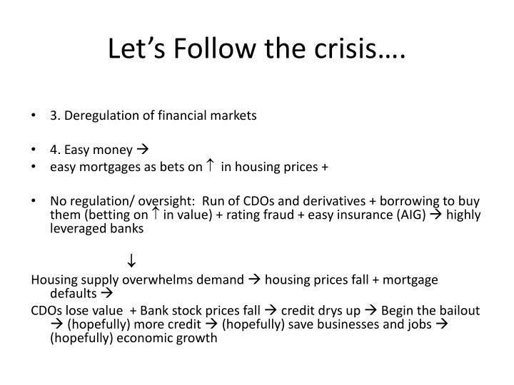 Let's Follow the crisis….