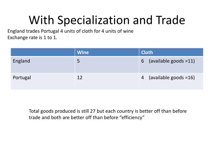 With Specialization and Trade