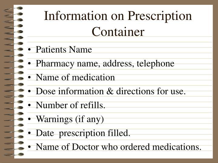 Information on Prescription Container