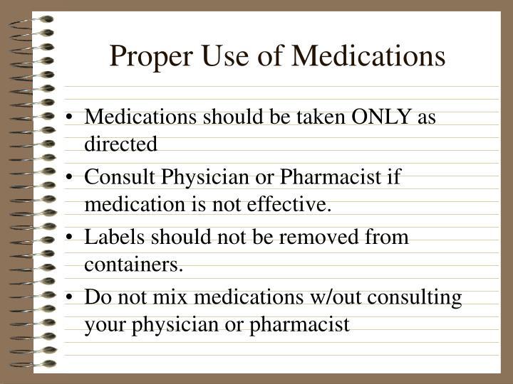 Proper Use of Medications