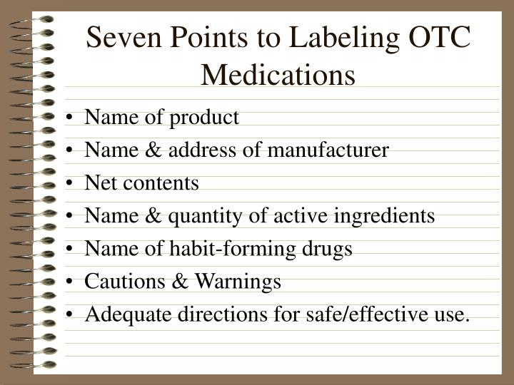 Seven Points to Labeling OTC Medications