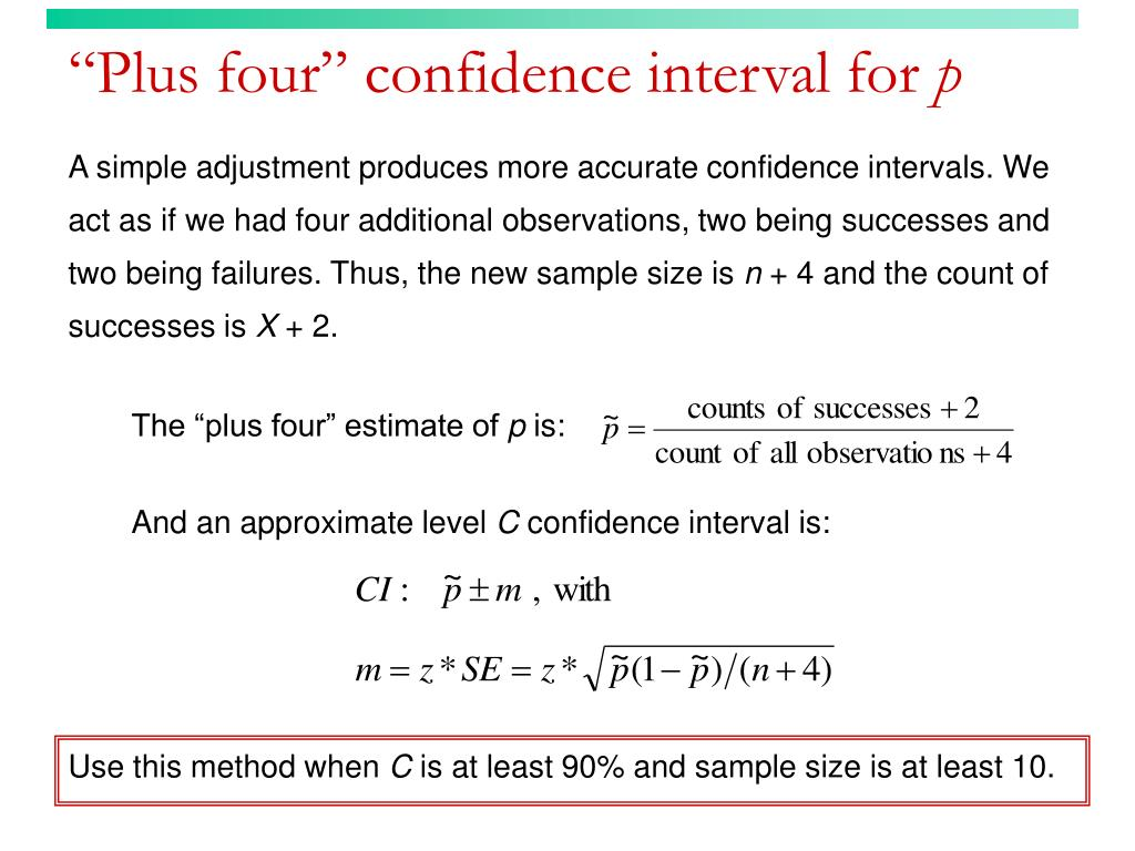 """Plus four"" confidence interval for"