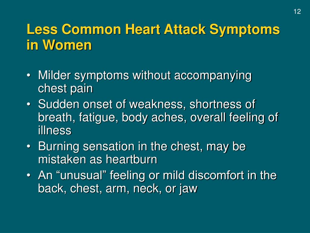 Less Common Heart Attack Symptoms in Women