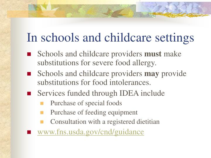 In schools and childcare settings