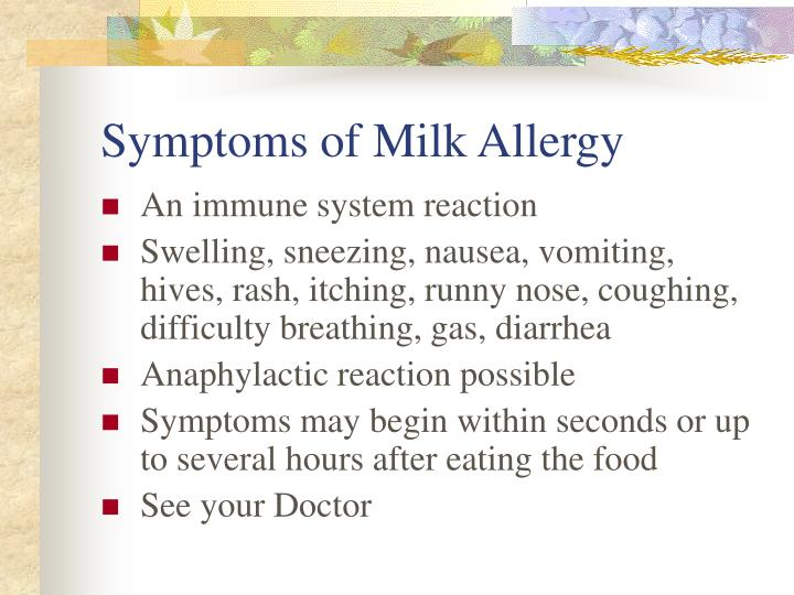 Symptoms of Milk Allergy