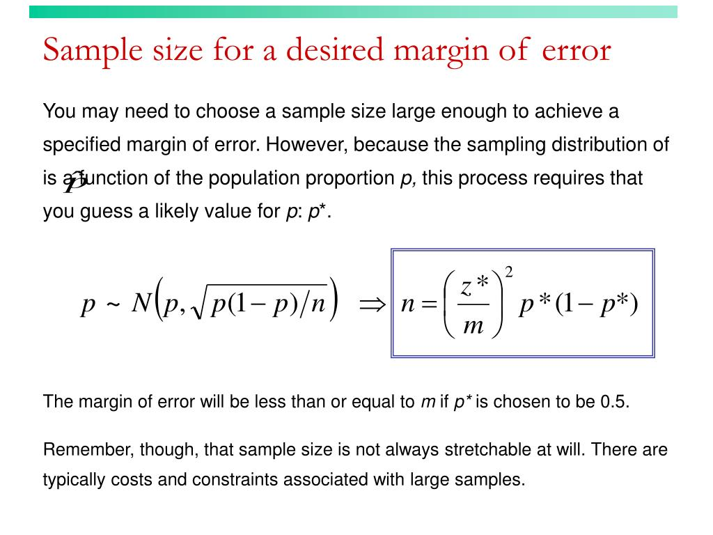 Sample size for a desired margin of error