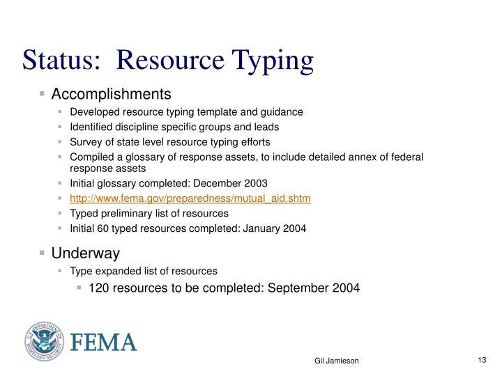 Status:  Resource Typing