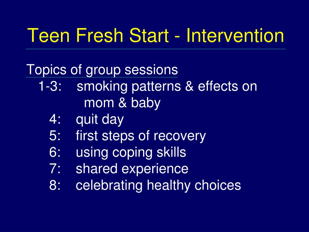 Teen Fresh Start - Intervention