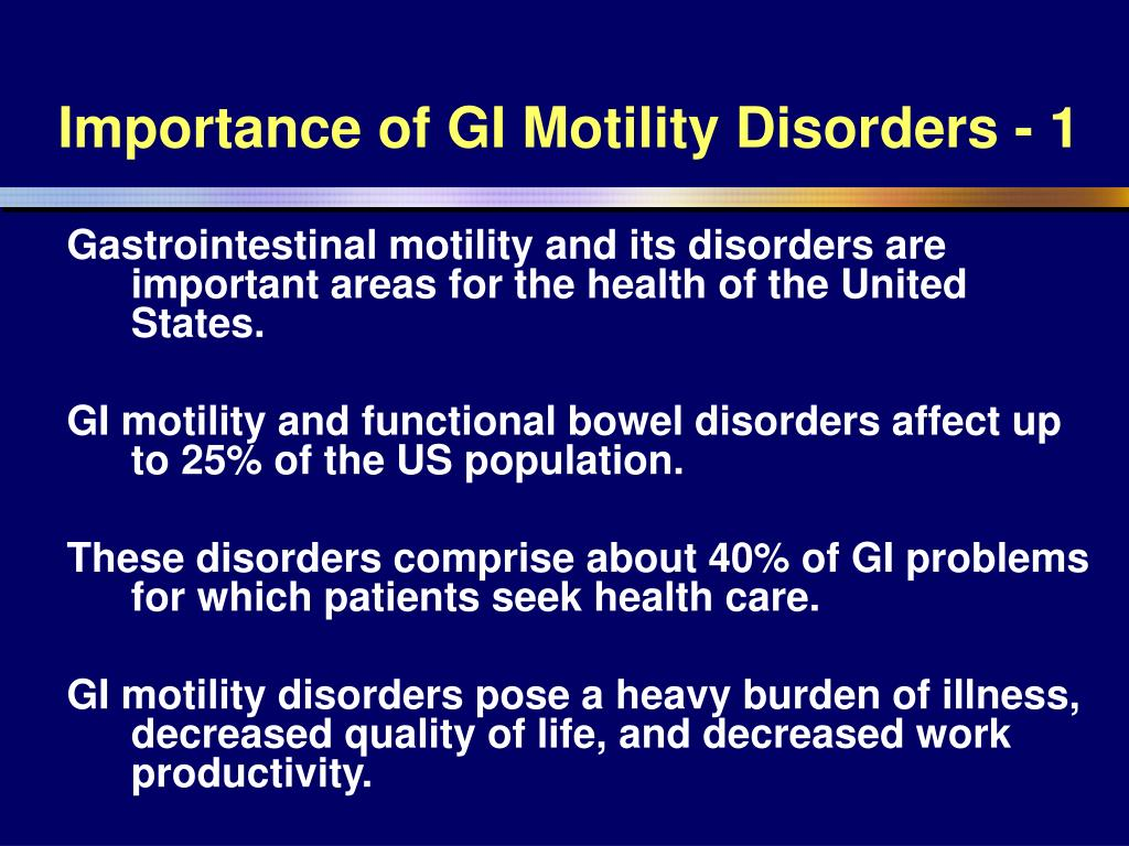 Importance of GI Motility Disorders - 1