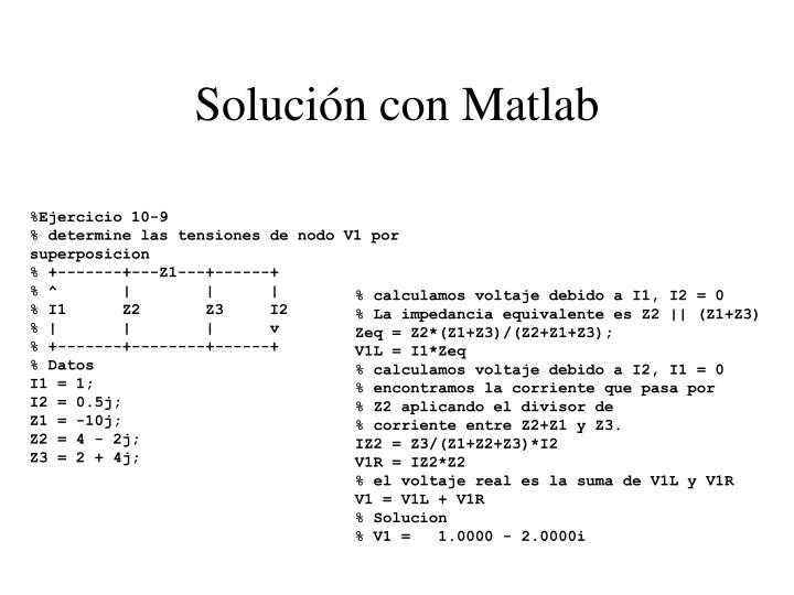 Solución con Matlab