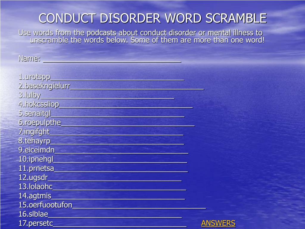 CONDUCT DISORDER WORD SCRAMBLE