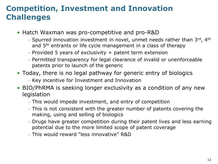 Competition, Investment and Innovation Challenges