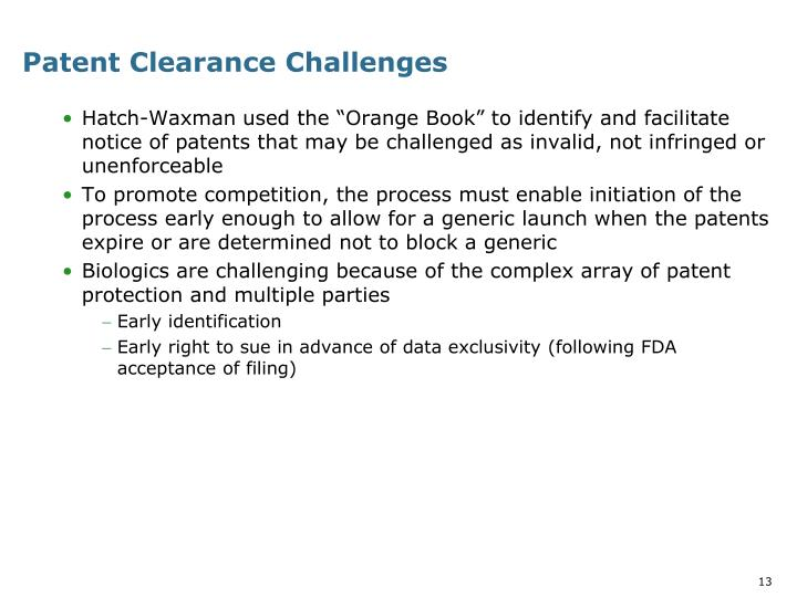 Patent Clearance Challenges