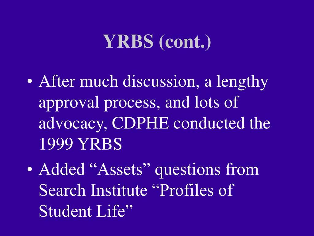 YRBS (cont.)