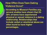 how often does teen dating violence occur