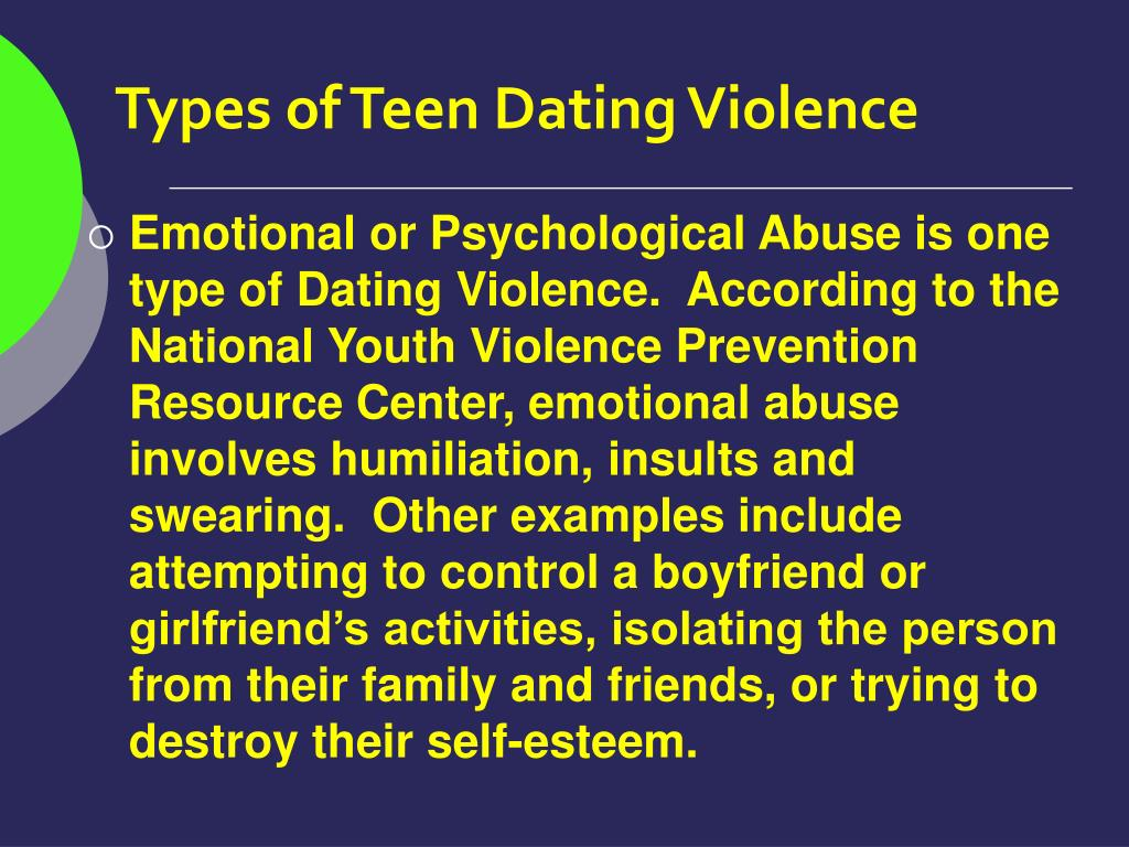 Types of Teen Dating Violence