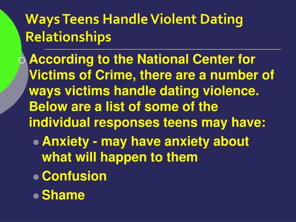 Ways Teens Handle Violent Dating Relationships