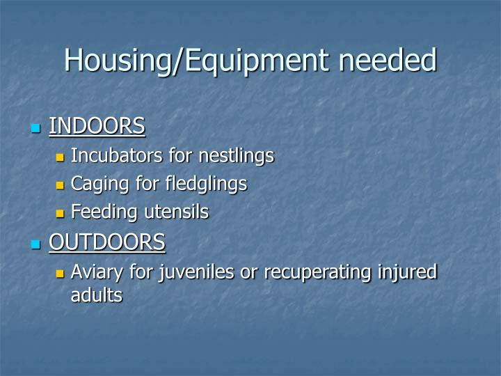 Housing/Equipment needed