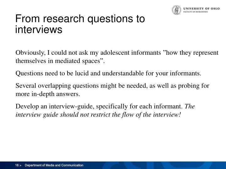 From research questions to interviews