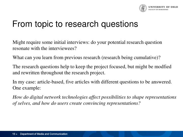 From topic to research questions