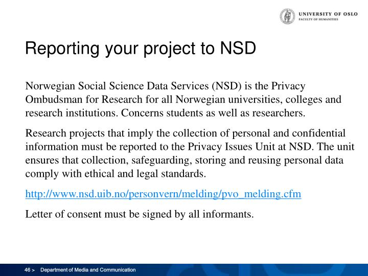 Reporting your project to NSD