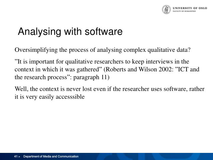 Analysing with software