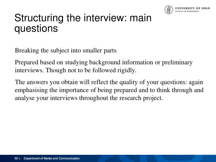 Structuring the interview: main questions