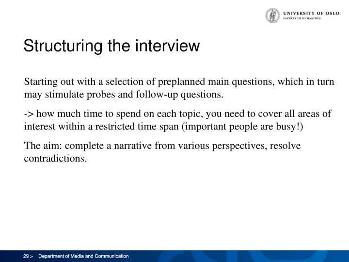 Structuring the interview
