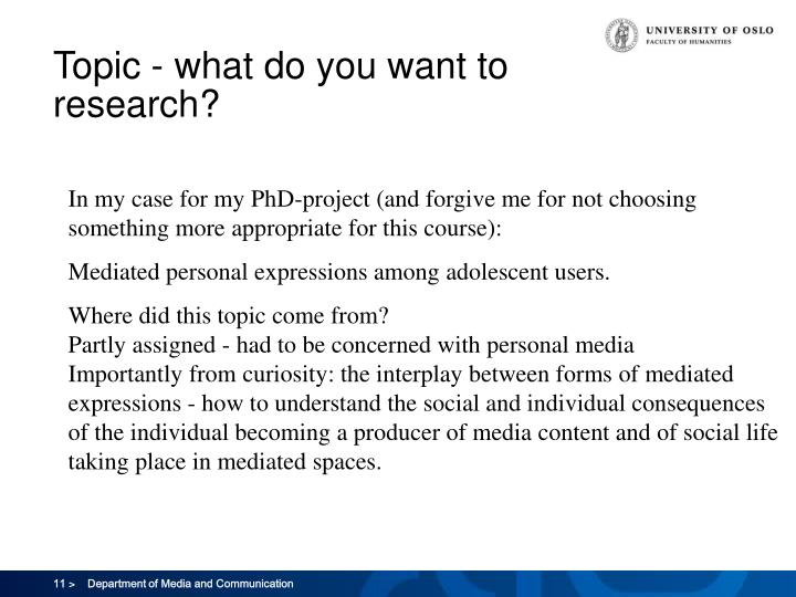 Topic - what do you want to research?