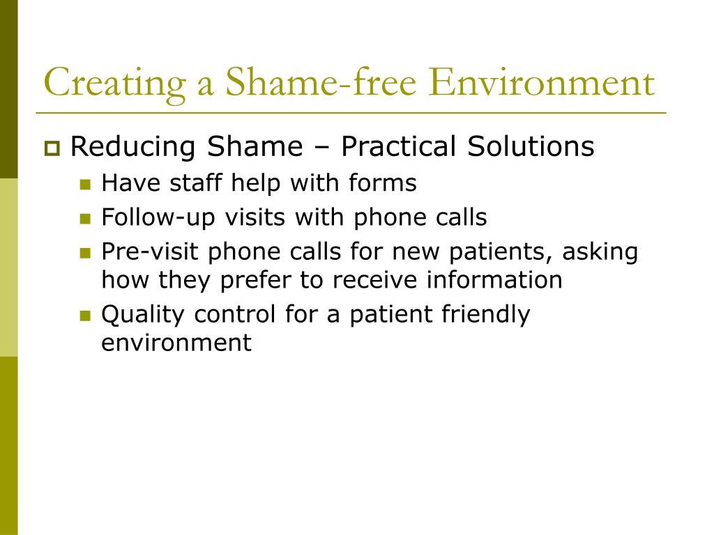 Creating a Shame-free Environment