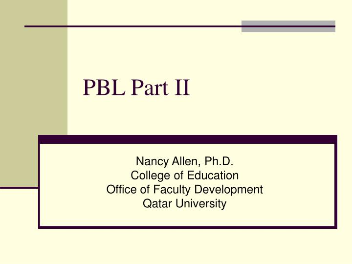 Pbl part ii