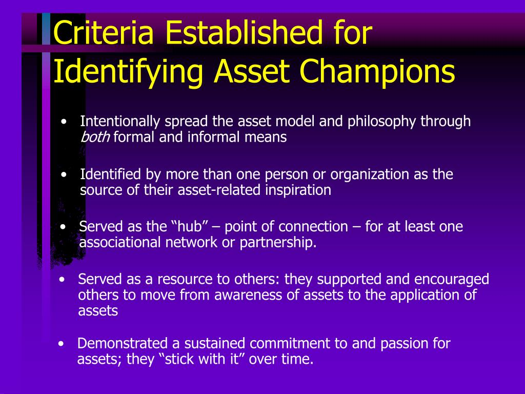 Criteria Established for Identifying Asset Champions
