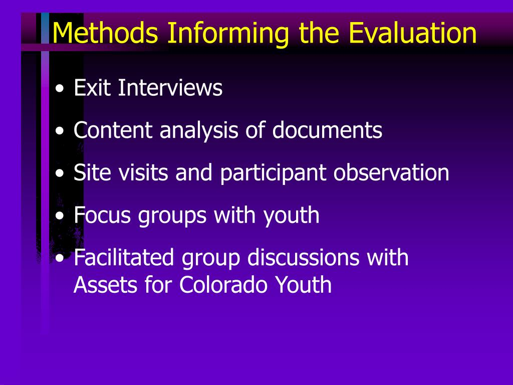 Methods Informing the Evaluation